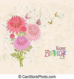 lovely bouquet of pink chrysanthemums on grunge background.