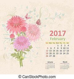 lovely bouquet of pink chrysanthemums on grunge background. Vint