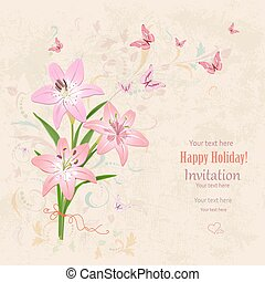 lovely bouquet of pink lilies with flying butterflies on grunge