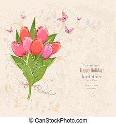 lovely bouquet of pink tulip on grunge background.