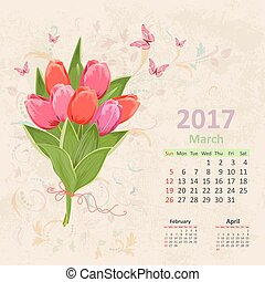 lovely bouquet of pink tulip on grunge background. Vintage Calen