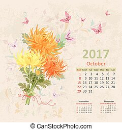 lovely bouquet of yellow and orange chrysanthemums on grunge bac