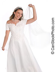 Lovely Bride Smiling on White Background