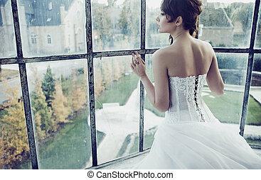Lovely bride waiting for her husband