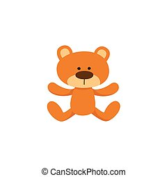 Lovely brown teddy bear toy, symbol, icon
