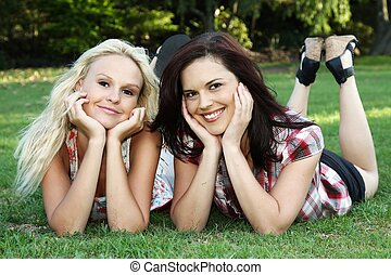 Lovely Brunette and Blonde Friends
