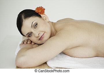 Lovely brunette enjoying relaxation