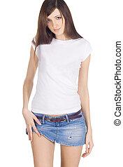 Lovely brunette in denim skirt