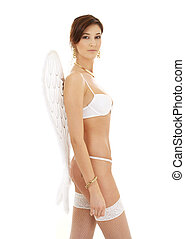 brunette in white lingerie with angel wings