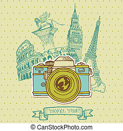 Lovely Card - Vintage Camera with Europe Architecture - in...
