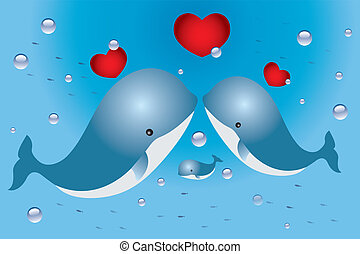 Lovely card with family of whales and hearts - Valentine's Day card