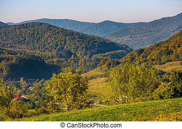 lovely Carpathian countryside in mountains. beautiful...