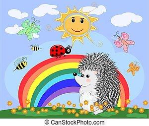 Lovely cartoon hedgehog near a seven-colored rainbow and a ladybird on a spring, summer day