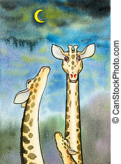 Lovely  cartoon  of giraffe in blue sky with the moon