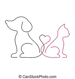 Lovely cat and dog thin line icons - Lovely vector cat and...