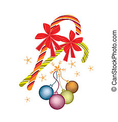 Lovely Christmas Balls and Candy Canes with Red Bow