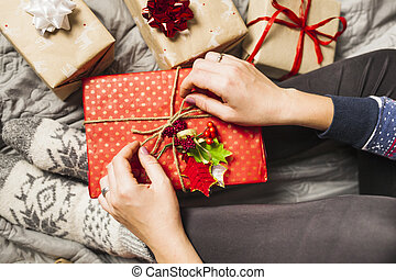 lovely christmas gifts composition . High quality and resolution beautiful photo concept
