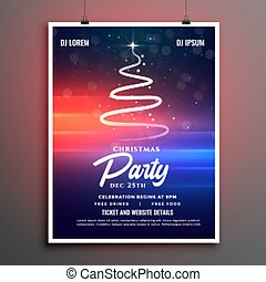 lovely christmas party poster template with creative tree