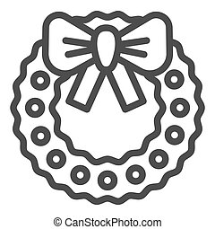 Lovely christmas wreath line icon. Xmas wreath with bow vector illustration isolated on white. Holiday decoration outline style design, designed for web and app. Eps 10.