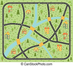 Lovely city car track. Play mat for children activity and entertainment. City landscape with streets, buildings and plants. City illustration. Children map vector illustration. Vector map city.