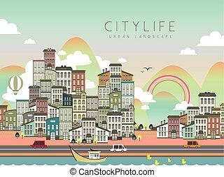 lovely city life scenery