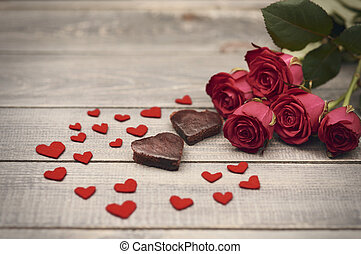 Lovely composition of valentines day symbols