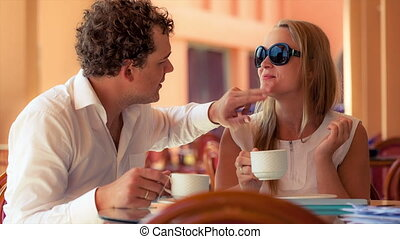 Lovely couple in a cafe