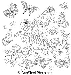 lovely couple of birds with butterflies for your coloring book