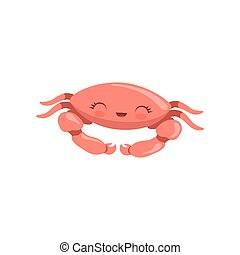 Lovely crab, cute sea creature character vector Illustration on a white background
