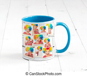 Lovely cup blue on inside and clowns print