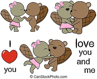 lovely cute beaver cartoon love set