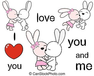 lovely cute bunny cartoon love set