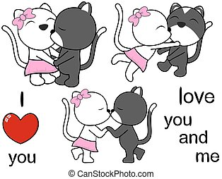 lovely cute cat cartoon love set