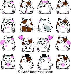 Lovely cute couple cartoon cat collection set with variety charactor isolate vector icon