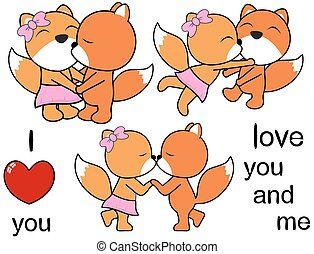 lovely cute fox cartoon love set