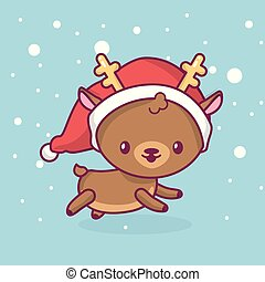 Lovely cute kawaii chibi. deer side view running under snow. Merry christmas and a happy new year