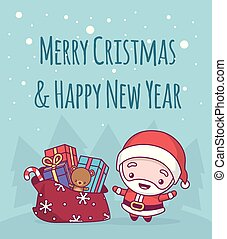 Lovely cute kawaii chibi. santa claus a bell with a bag and gifts under a snowfall. Merry christmas and a happy new year. greeting card