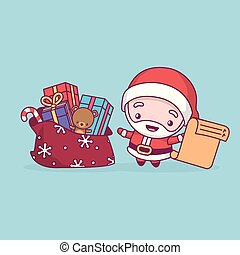 Lovely cute kawaii chibi. Santa Claus rejoices with a bag of gifts and a list in his hand. Merry christmas and a happy new year