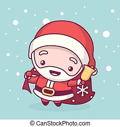 Lovely cute kawaii chibi. santa claus with a bag of gifts and a bell under a snowfall. Merry christmas and a happy new year
