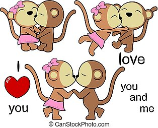 lovely cute monkey kissing cartoon love valentine set