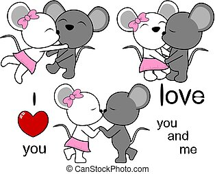 lovely cute mouse kissing cartoon love valentine set
