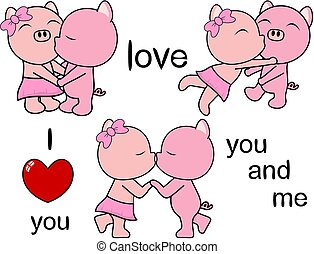 lovely cute pig kissing cartoon love valentine set