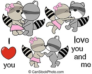 lovely cute raccoon cartoon love set