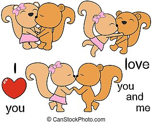 lovely cute squirrel cartoon love set