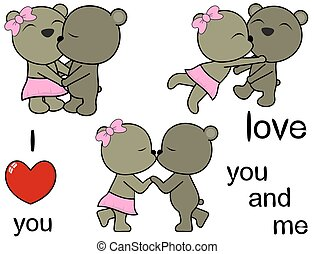lovely cute teddy bears cartoon love set