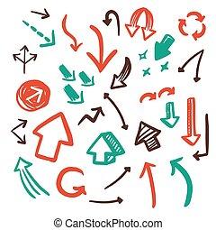 lovely doodle style arrows set