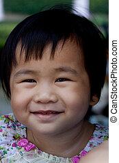 lovely face of asian adorable cute girl use for children...