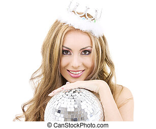 lovely fairy in crown with disco ball