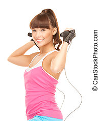 fitness instructor with jump rope - lovely fitness...