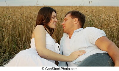 Lovely flirt - Charming couple flirting and cuddling in the...